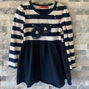 Striped Dress with Floral Embellishment